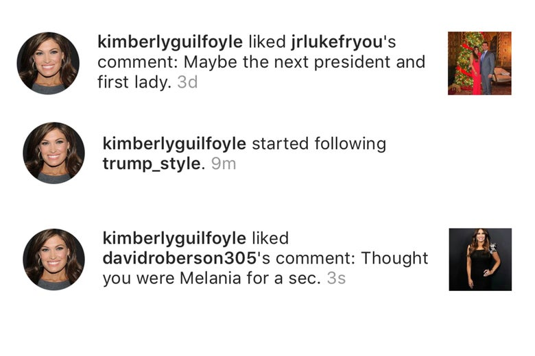 Kim Guilfoyle faves a series of comments comparing her to Melania.