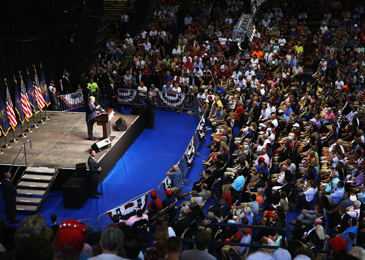 Republican Presidential candidate Donald Trump addresses a crowd of supporters on July 27, 2016 in Scranton, Pennsylvania.