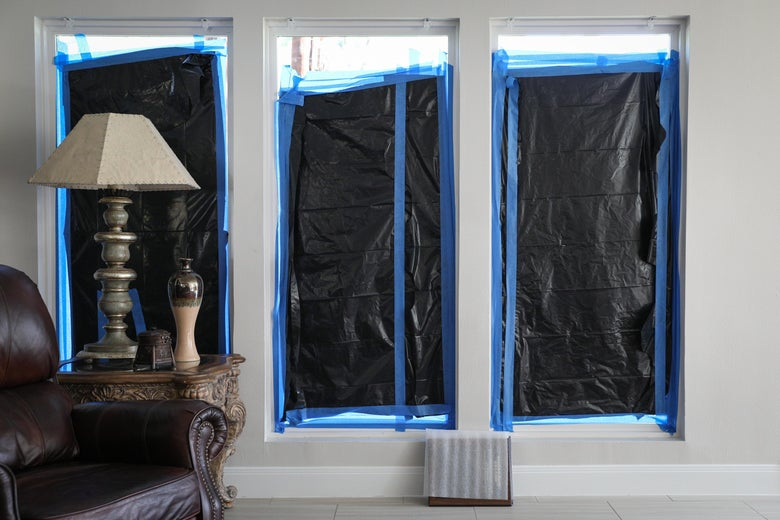 Ongoing repairs resulting from Hurricane Harvey are pictured inside a home.