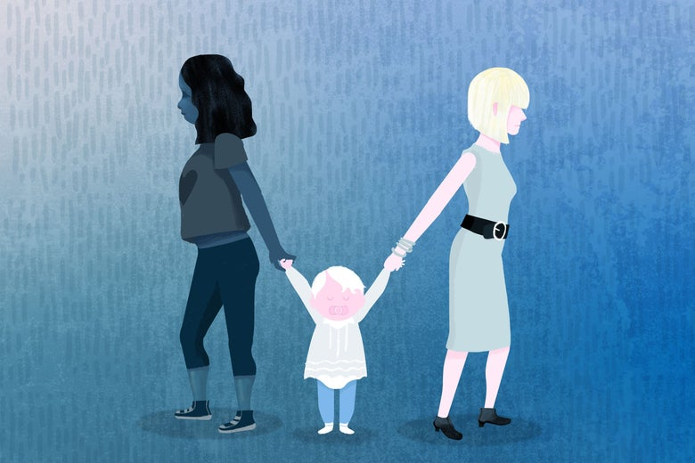 Illustration of a black woman in plain clothes and a white woman in fancy clothes holding the hands of a white toddler girl while facing opposite directions.