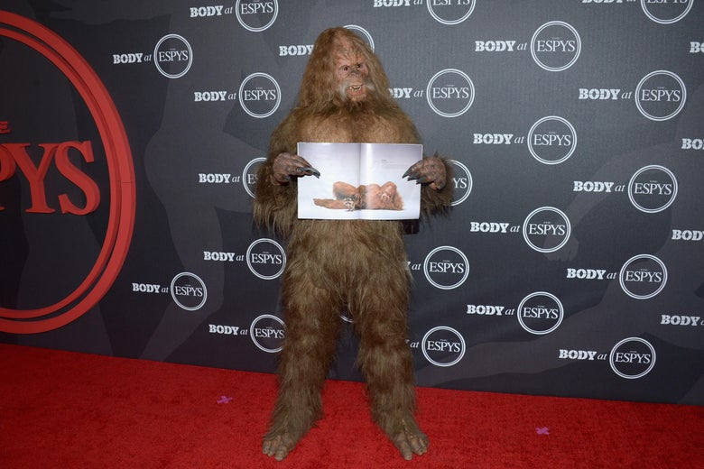 A sasquatch walks the red carpet.