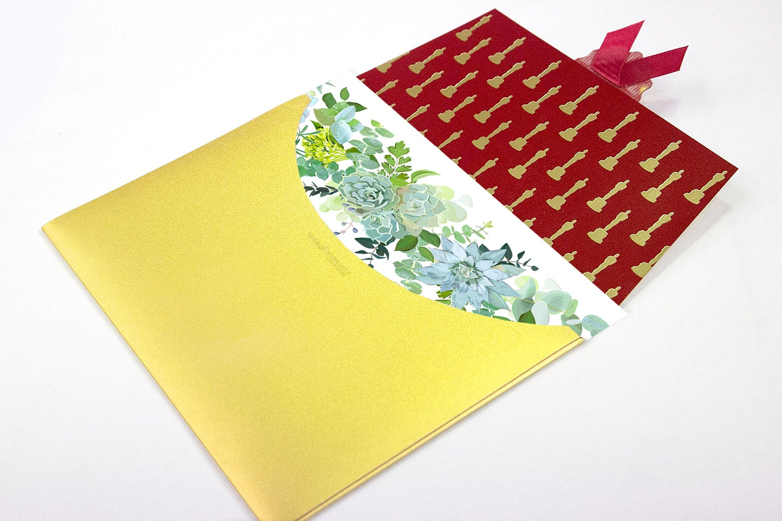 A flowery greeting card in an Oscar envelope.