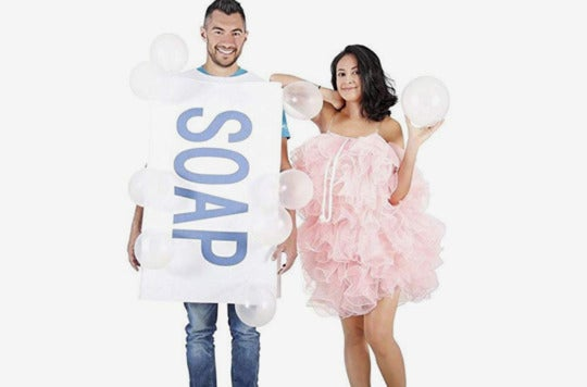 Couple dressed as a soap and loofah.