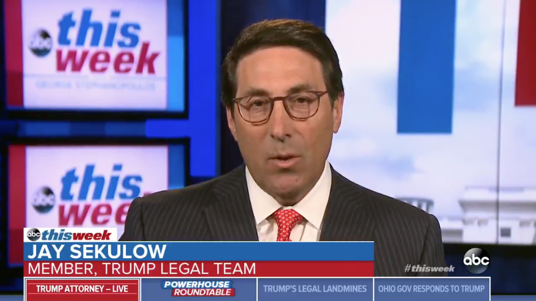 Lawyer Jay Sekulow speaks to ABC News' George Stephanopoulos on August 5, 2018.