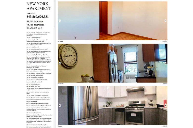 Screenshot of the exhibit, a fictitious NY City apartment ad.