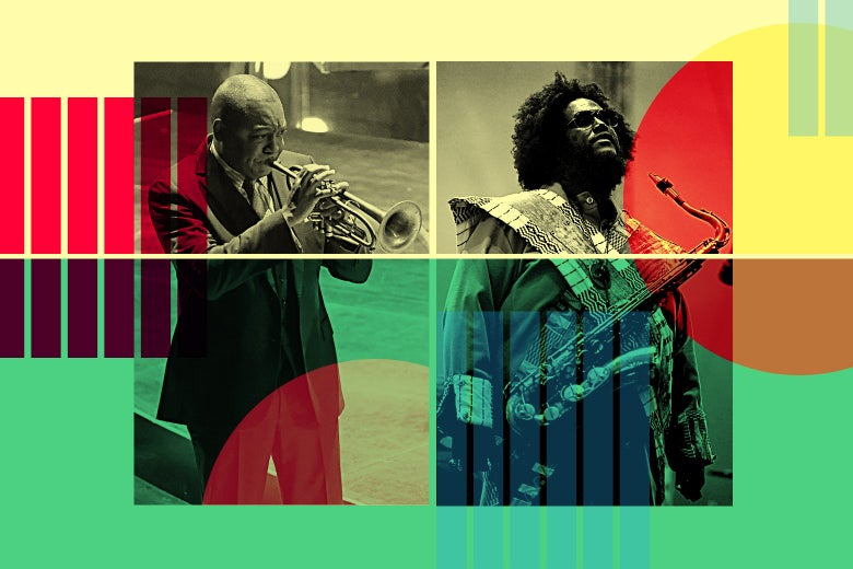 A collage of Wynton Marsalis and Kamasi Washington.