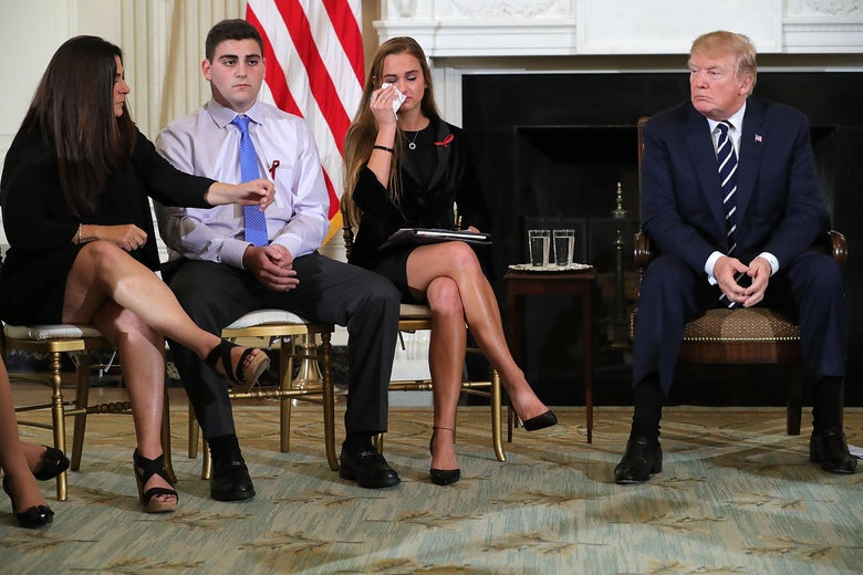 Donald Trump at a listening session with survivors of the Parkland shooting.