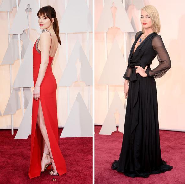 Actress Dakota Johnson and actress Margot Robbie.