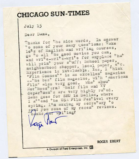 Letter from Roger Ebert to Dana Stevens.