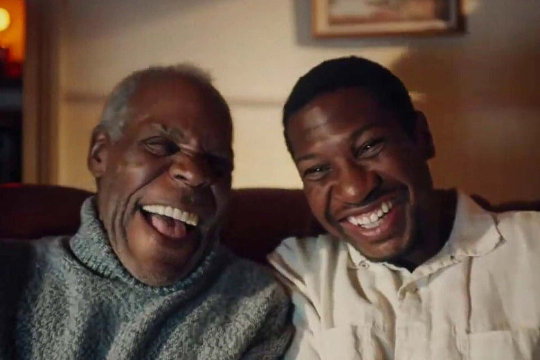 Danny Glover and Jonathan Majors laugh in this still from The Last Black Man in San Francisco.