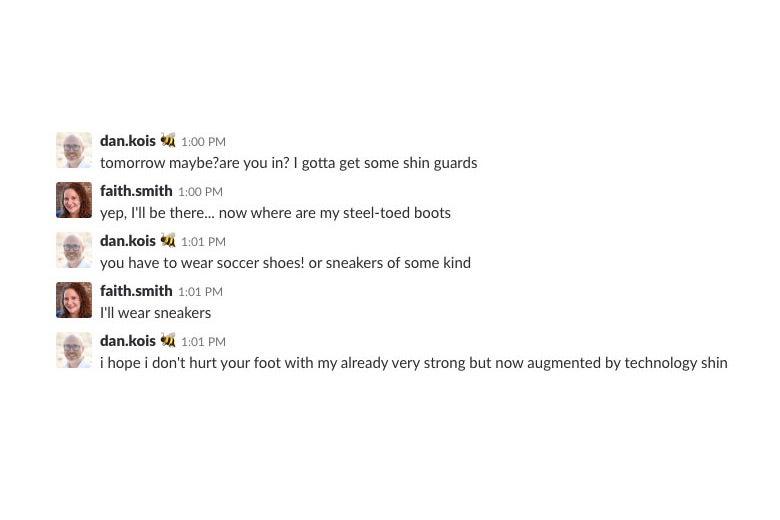 A Slack conversation between Faith and Dan.