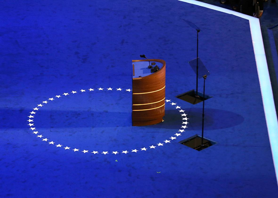 The podium stands empty on stage during preparations for the Democratic National Convention at Time Warner Cable Arena on September 3, 2012 in Charlotte, North Carolina.