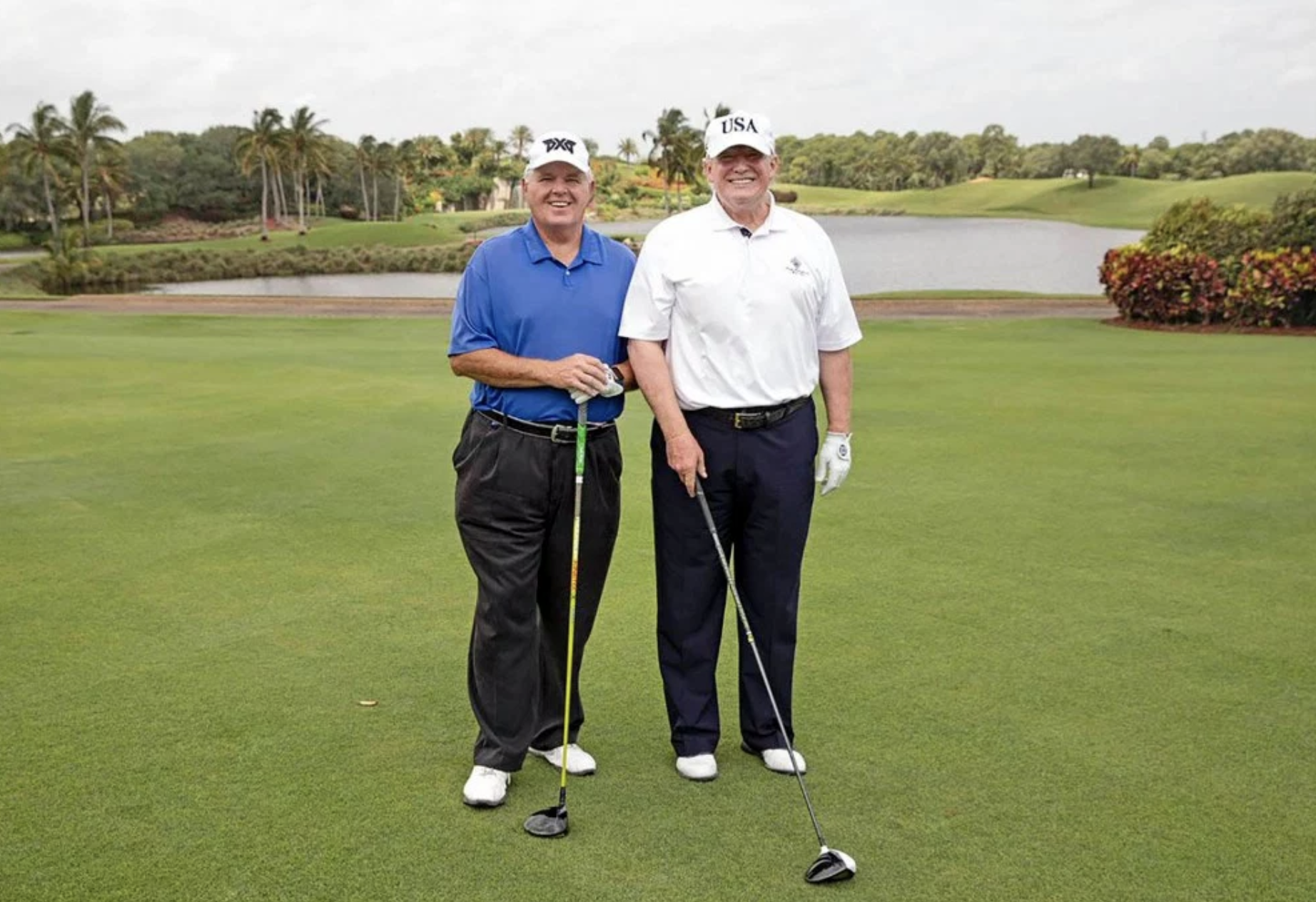 Rush Limbaugh and President Donald Trump play golf on April 19, 2019.