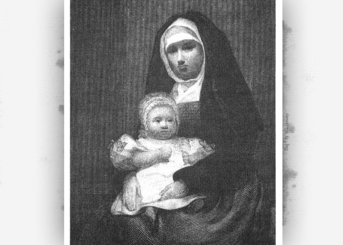 "Maria Monk holding her infant and demanding of her reading public: ""Bring me before a court...."""