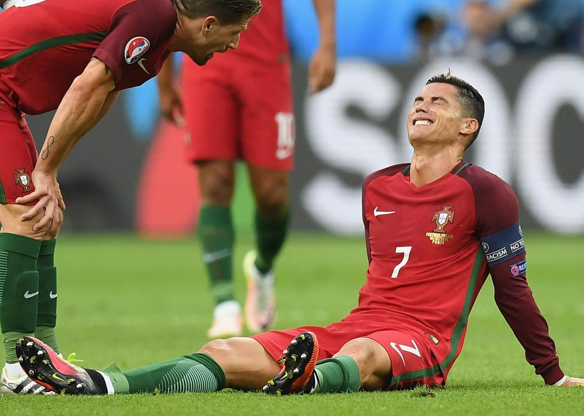 Cristiano Ronaldo Hurts Knee Moth Tries To Eat His Eyeball Leaves Euro 2016 On A Stretcher