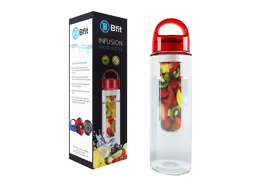 Water bottle with fruit infuser.