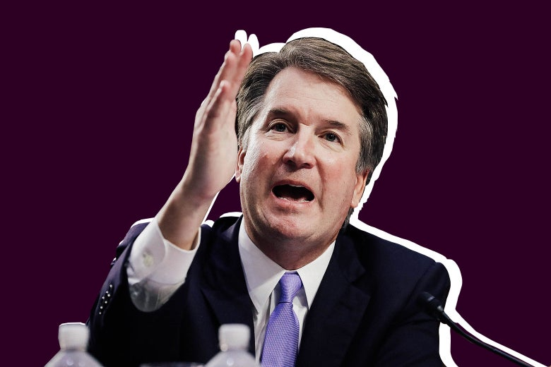 Brett Kavanaugh raising his hand in front of his face while testifying at his Supreme Court confirmation hearing.