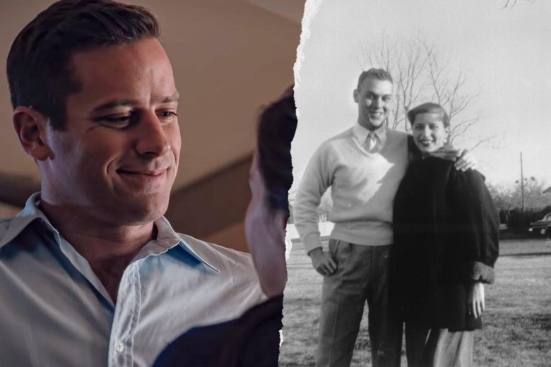 Photo illustration of Armie Hammer and a younger Marty Ginsburg.
