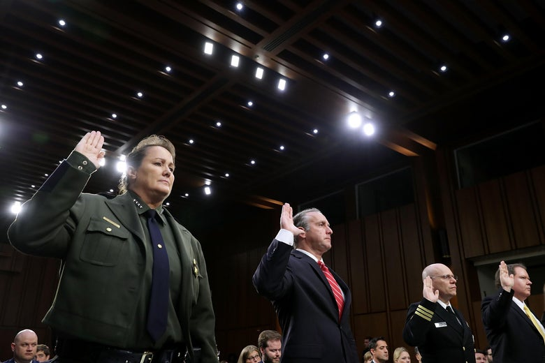 Officials are sworn in for a hearing on family separation, a policy for which nobody is apparently to blame.