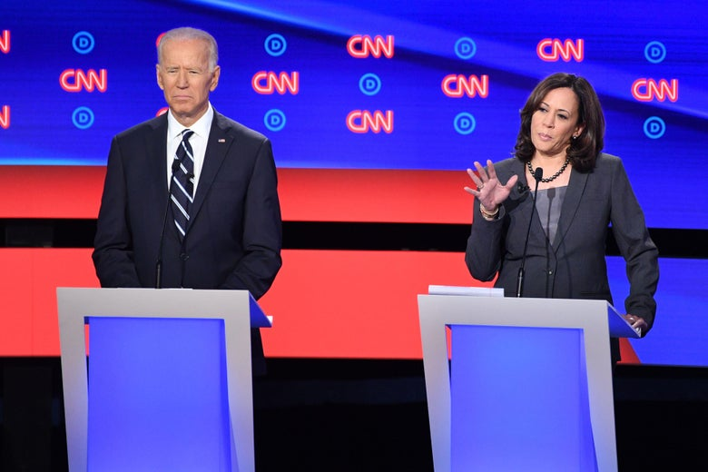 Joe Biden and Kamala Harris onstage.