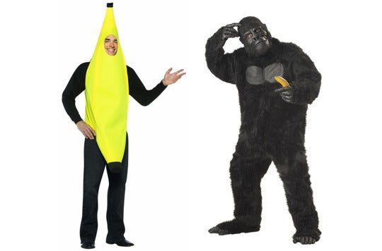 Couple dressed as a banana and gorilla.