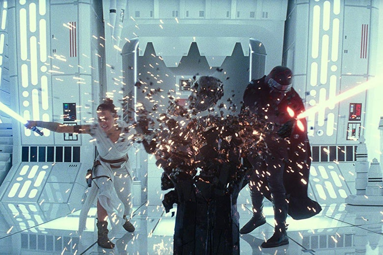 Alt text: Rey and Kylo Ren bash a big black podium with their laser-swords.