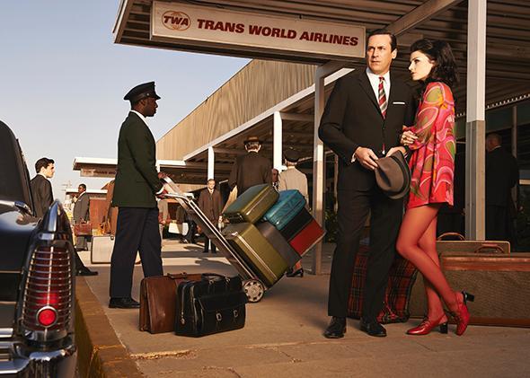 Jon Hamm as Don Draper and Jessica Pare as Megan Draper in Man Men.Don and Megan Draper
