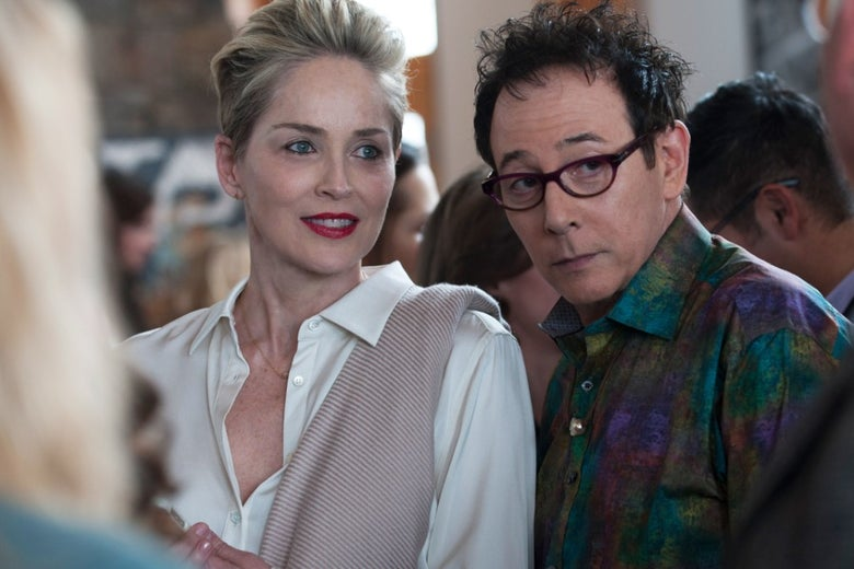 Sharon Stone and Paul Reubens in HBO's Mosaic.
