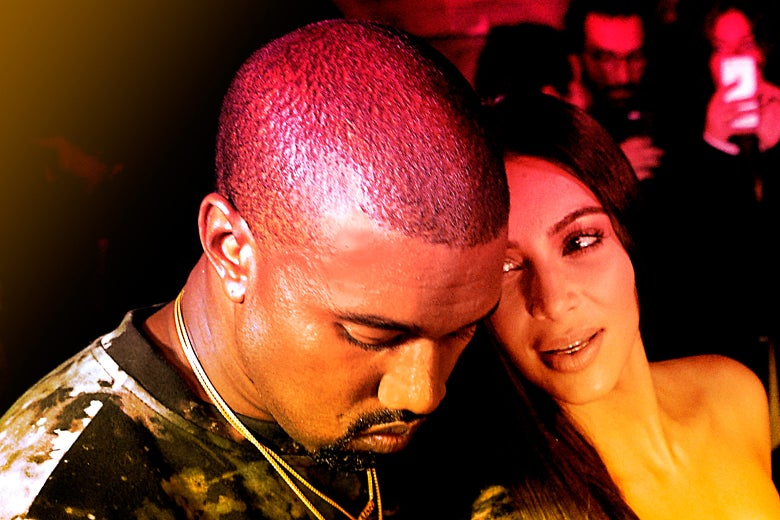 Kanye West and Kim Kardashian in Paris.