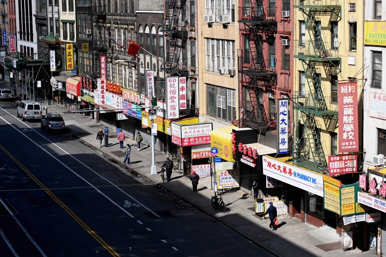 A nearly empty street in Chinatown on March 24, 2020 in New York City. - US lawmakers closed in on a deal Tuesday to help save the teetering economy by injecting nearly $2 trillion into pockets of struggling Americans, devastated businesses and hospitals struggling to contain the coronavirus pandemic. (Photo by Angela Weiss / AFP) (Photo by ANGELA WEISS/AFP via Getty Images)
