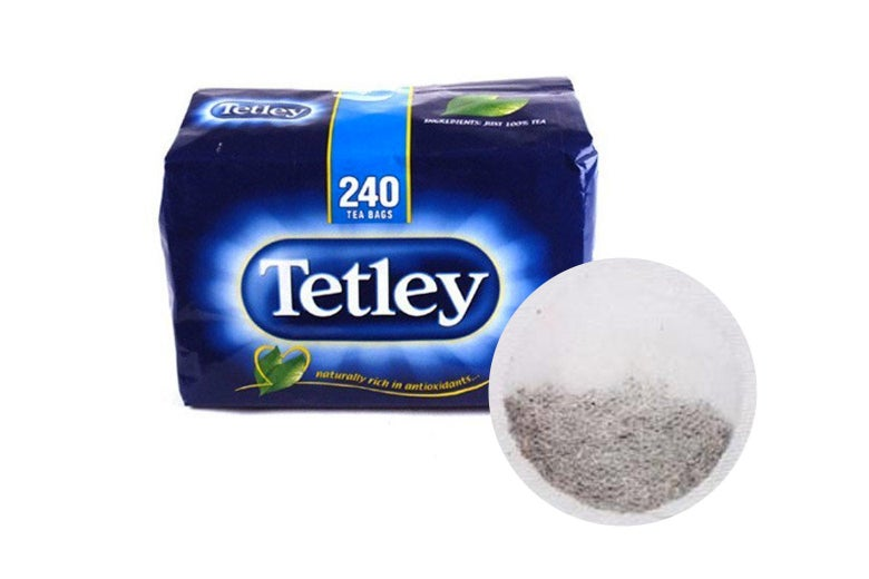 Box of Tetley tea.