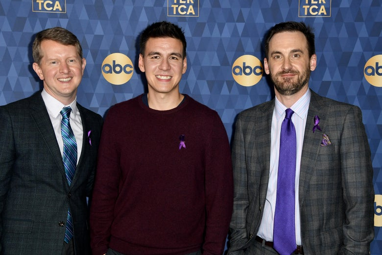 Ken Jennings, James Holzhauer and Brad Rutter at the TCA Winter tour. Jennings and Rutter are in suits; Holzhauer wears a sweater.
