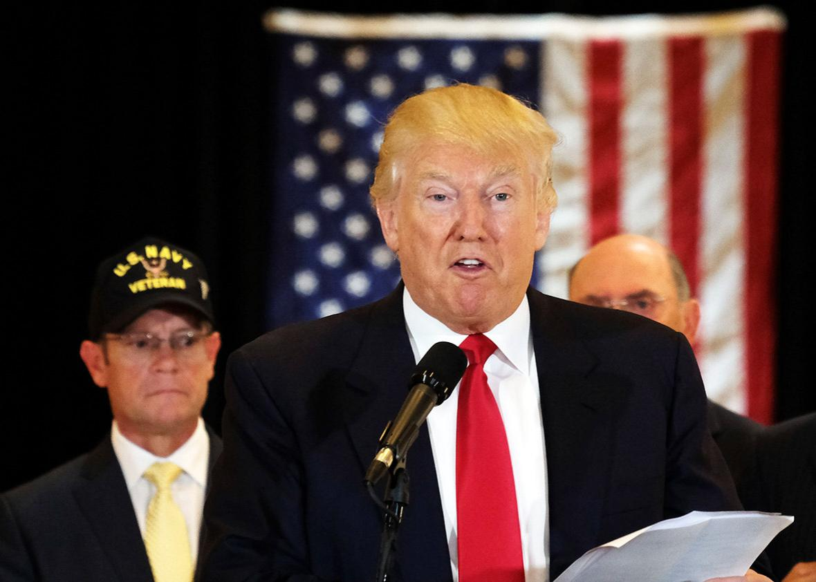 US Republican presidential candidate Donald Trump speaks during a press conference at the Trump Tower on May 31, 2016 in New York.