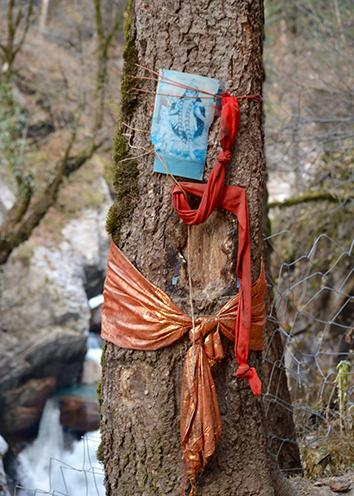 A hologram of Kali, the fearsome Hindu goddess who liberates souls, wearing a garland of human skulls, pinned to a tree near Kheerganga.