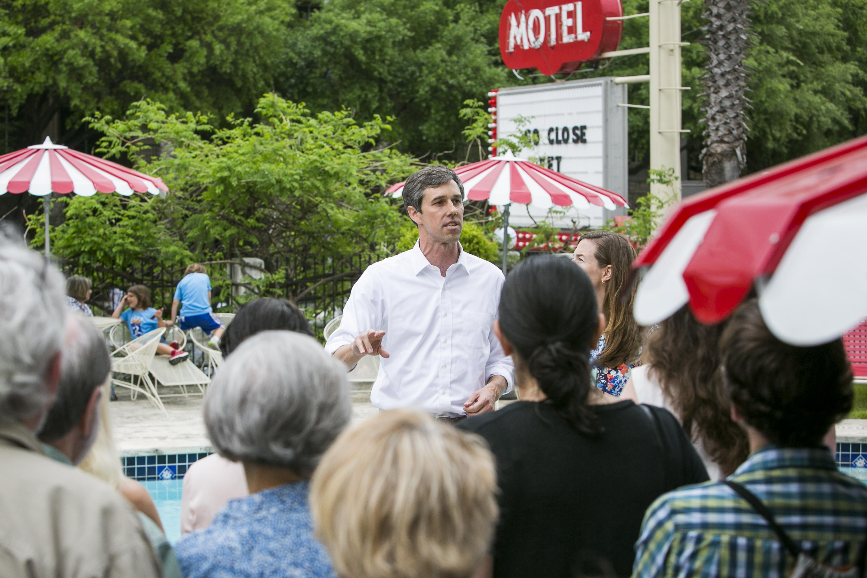 AUSTIN, TX - APRIL 1: Rep. Beto O'Rourke (D-TX) holds a fundraiser at the Austin Motel on April 1, 2017 in Austin, Texas.   O'Rourke announced his plan to run for Ted Cruz's Senate seat on Friday and launched his campaign with a four-city tour of Texas. (Photo by Drew Anthony Smith/Getty Images)