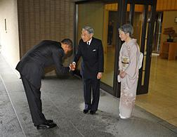 Barack Obama with Japanese Emperor Akihito and Empress Michiko. Click image to expand.