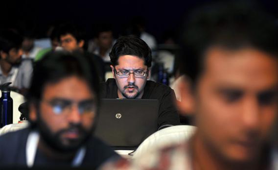 Indian participants take part in the 'Windows AppFest', a marathon coding.