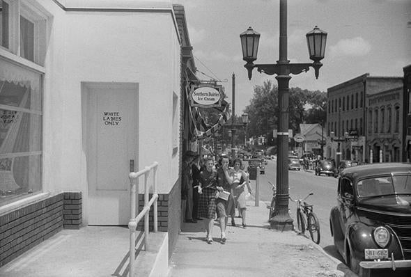 A street near the bus station in Durham, N.C., in May 1940.