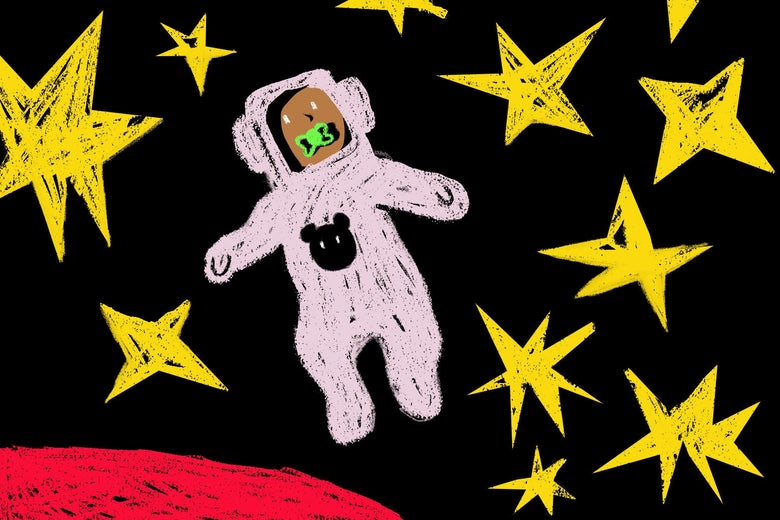 Illustration of a baby in a spacesuit floating in space.