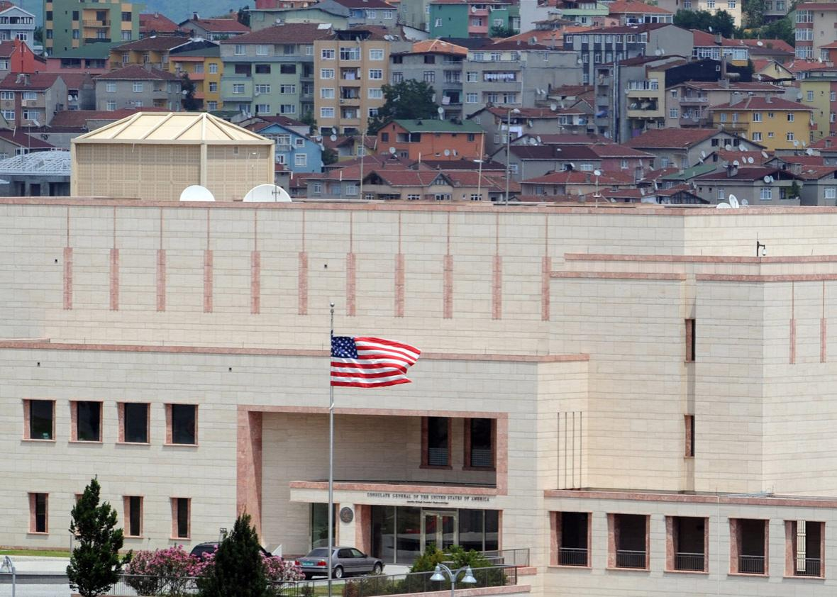 An American flag flies in front of the U.S. Consulate on July 9, 2008 in Istanbul, Turkey.