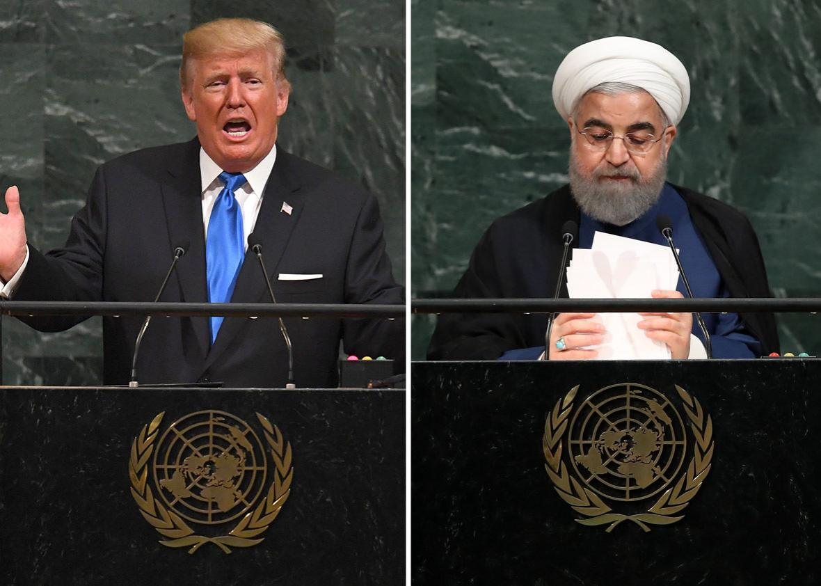 US President Donald Trump and Hassan Rouhani, President of the Islamic Republic of Iran