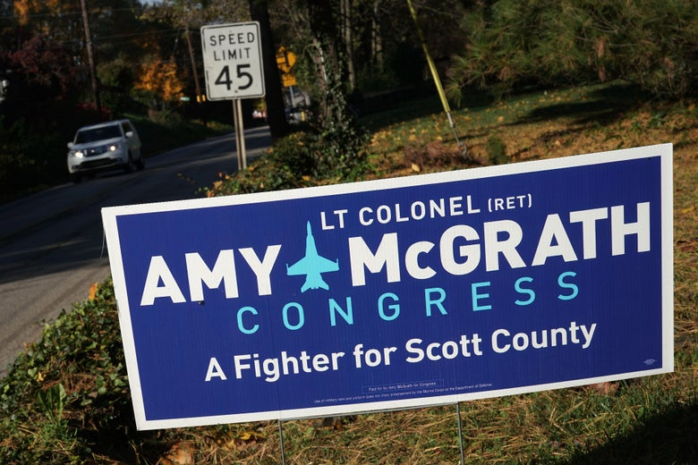 A campaign sign for Democratic U.S. House of Representatives candidate for Kentucky's 6th distrcit Amy McGrath is seen November 3, 2018 in Georgetown, Kentucky.