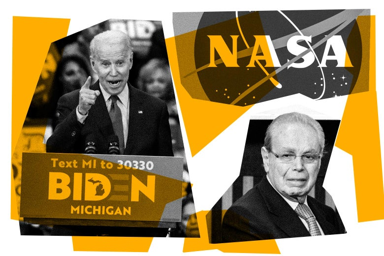 Photo collage of Joe Biden, the NASA logo, and Javier Pérez de Cuéllar.