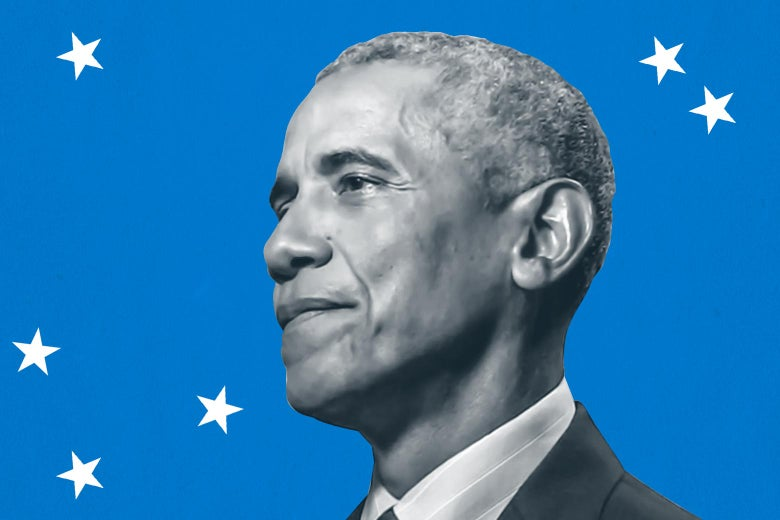 "Obama's head is seen against a blue background with stars and a sign reading ""2020 Democratic National Convention."""