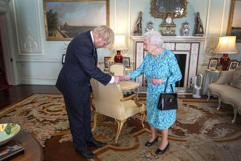 Queen Elizabeth II welcomes Boris Johnson.