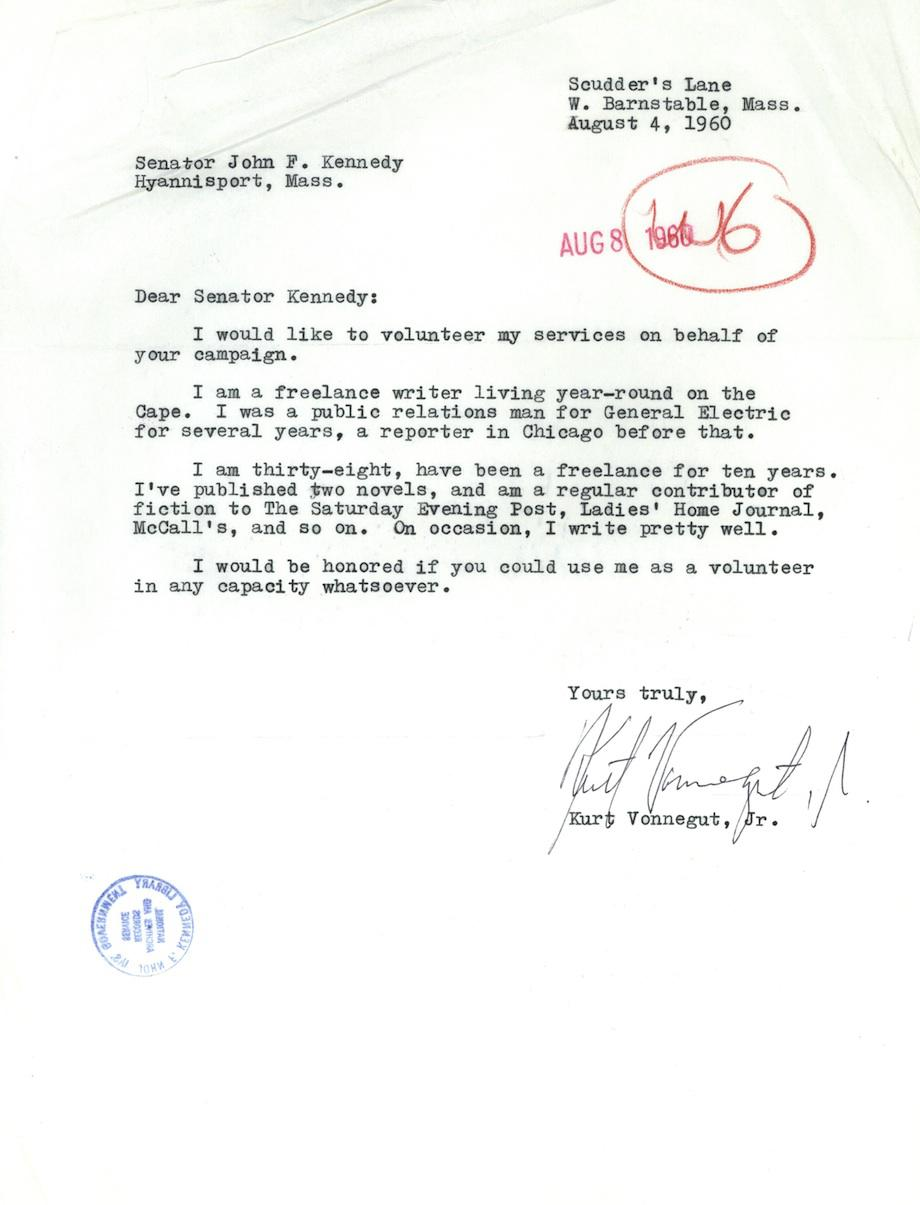 Kurt vonnegut the author volunteers for the jfk campaign vonnegut letter expocarfo Gallery