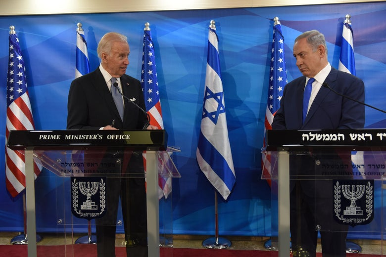 US Vice President Joe Biden and Israeli Prime Minister Benjamin Netanyahu give joint statements to press in the prime minister's office in Jerusalem on March 9, 2016. Biden implicitly criticised Palestinian leaders for not condemning attacks against Israelis, as an upsurge in violence marred his visit.   / AFP / POOL AND AFP / DEBBIE HILL        (Photo credit should read DEBBIE HILL/AFP via Getty Images)