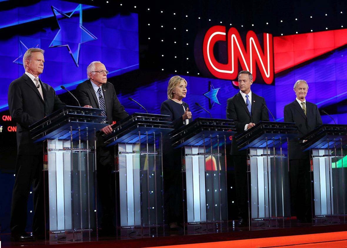 Democratic presidential candidates Jim Webb, Sen. Bernie Sanders,Democratic presidential candidates Jim Webb, Sen. Bernie Sanders (I-VT), Hillary Clinton, Martin O'Malley and Lincoln Chafee.