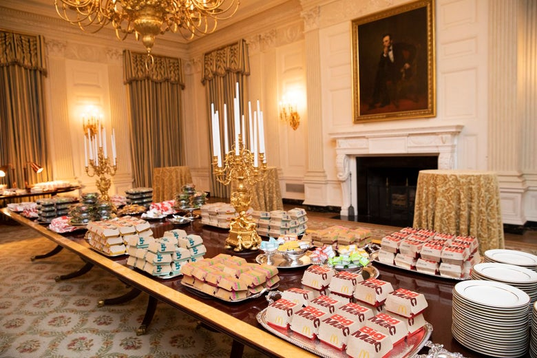A White House table loaded with fast food.