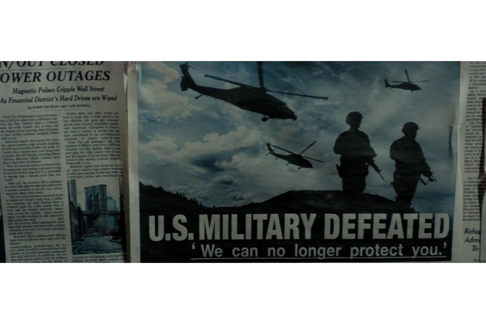 "A tabloid headline reading ""U.S. Military Defeated."""